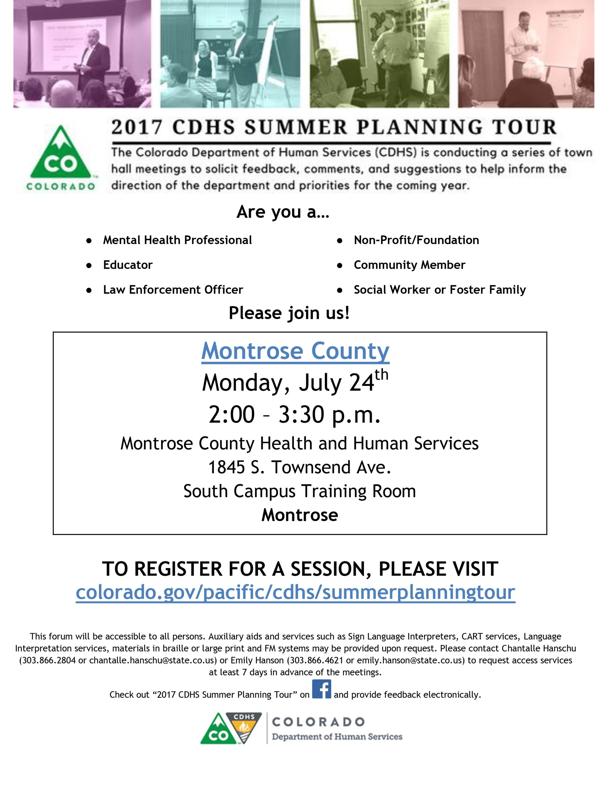 Montrose 2017 Summer Planning Tour Flyer