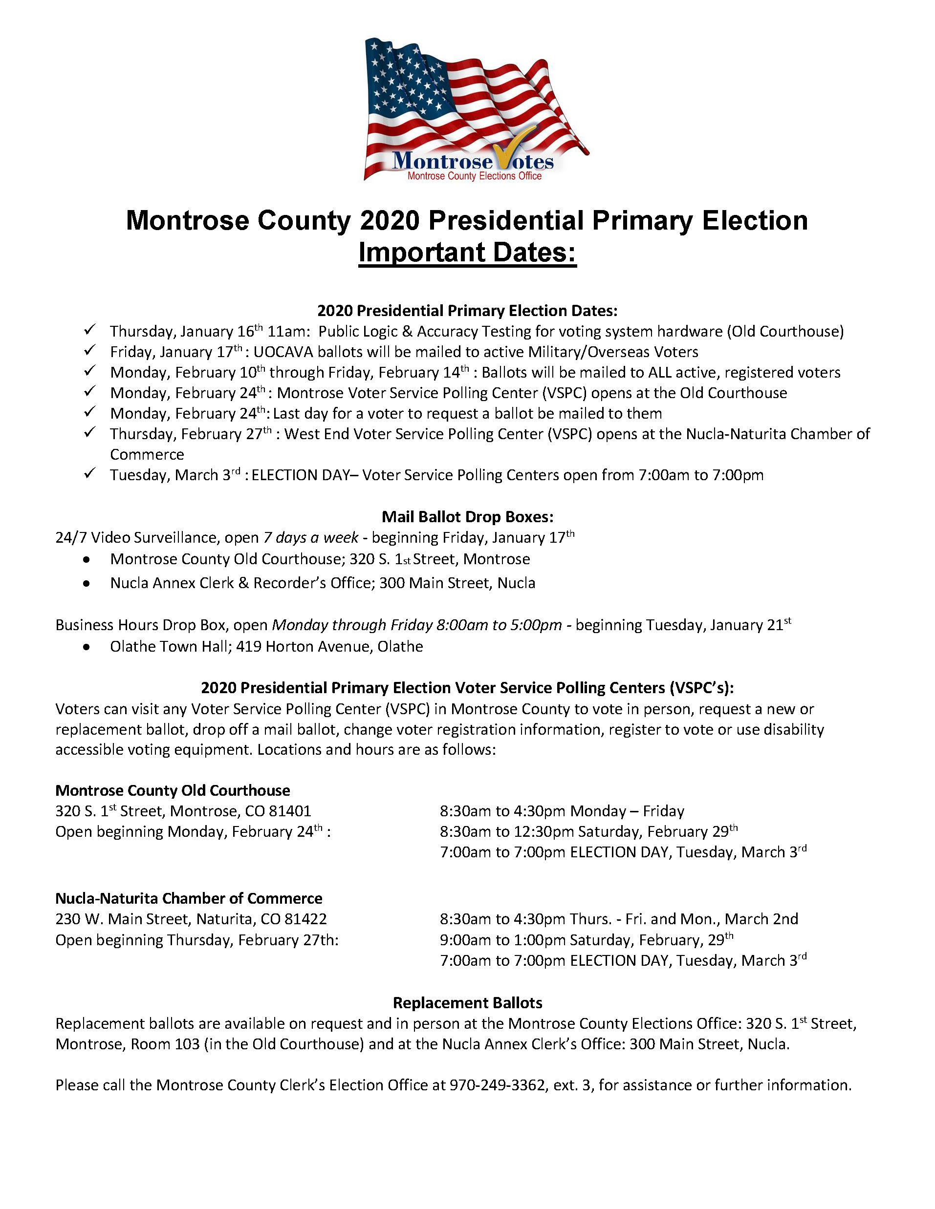 2020 Pres Pri Election Important Dates